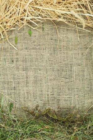 Straw and hay on burlap, copy space. Studio shot. photo