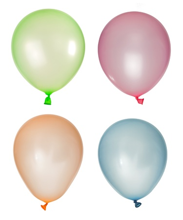 Set of inflated balloons from different colors. White isolated Stock Photo