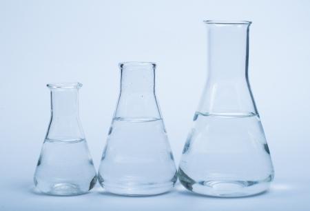 analytical chemistry: Empty glass laboratory utensils.Laboratory beakers on white background Stock Photo