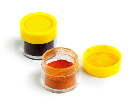 pigment: Artificial food coloring pigment or substances in pack.White isolated.