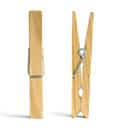 Clothes natural wooden peg. Isolated studio shot