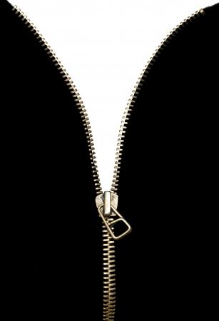 White isolated zipper . Black isolation .