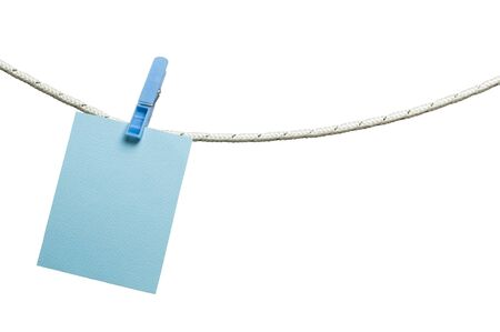 instant message: Note papers hooked on a rope. White isolated studio shot Stock Photo