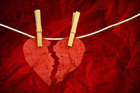 paper heart: Red paper Heart divided into two parts Stock Photo