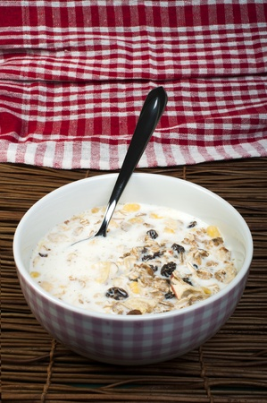Muesli breakfast in a bowl and spoon close up Stock Photo - 18236460