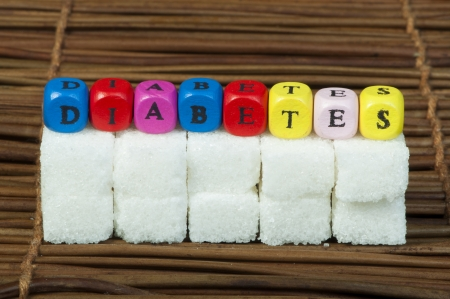 consumable: Sugar lumps and word diabetes. Multicolored cubes