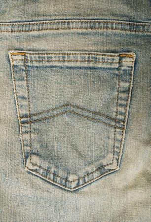 Jeans back blue pocket. Close up studio shot photo