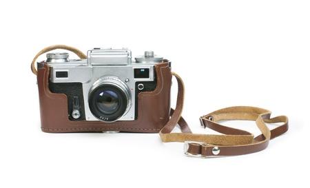 Old vintage camera white isolated. Studio shot Stock Photo - 18232336