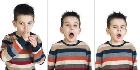 tosiendo: Los ni�os que tosen. Blancos disparos estudio aislado.