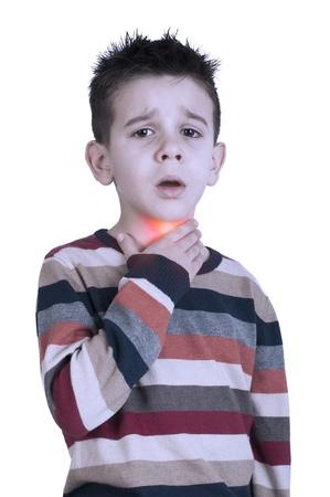 Kind heeft keelpijn ziek. Studio-opname Stockfoto