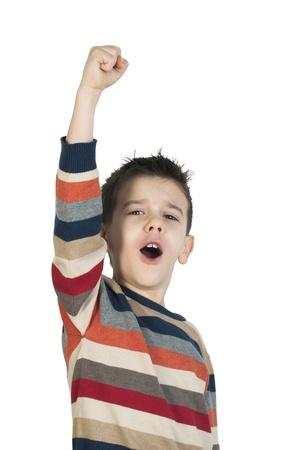 Child winner. White isolated photo