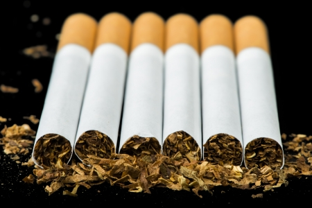 cigarette: Arranged in a row cigarettes and scattered tabaco