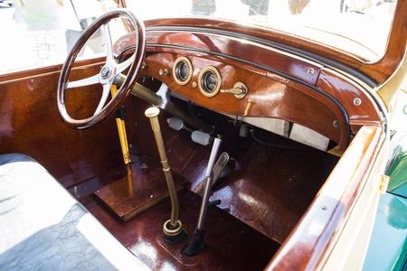 Old vintage retro car interior.