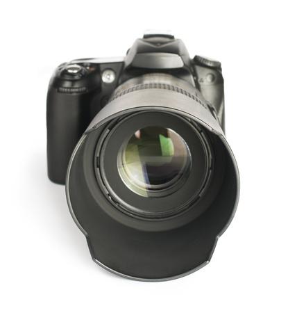 telephoto: DSLR camera white isolated studio shot.