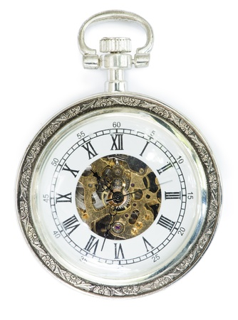 Mechanical clock with cover. White isolated photo