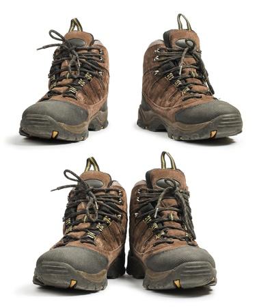 zapatos de seguridad: Zapatos de senderismo blanco foto de estudio aislado.