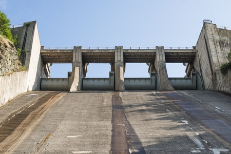 hydroelectricity: Hydroelectric power station. High dam Stock Photo