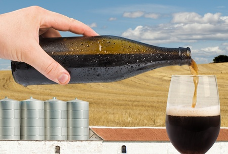 Beer and factory on the background. Blue sky Stock Photo - 20596986