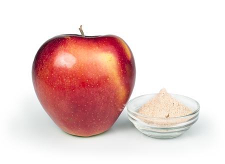 pectin: Apple and pectin powder. White isolated studio shot