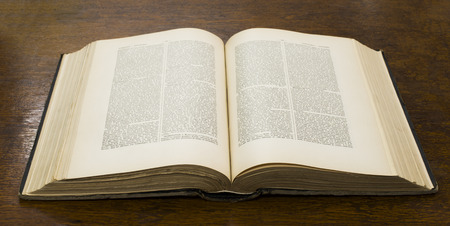 bible: Open old big book. French encyclopedia. Stock Photo