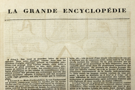 Page of old book. French encyclopedia