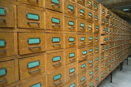 catalogs: Old archive with wooden drawers