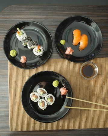 sushi plate: Plate of sushi in restaurant