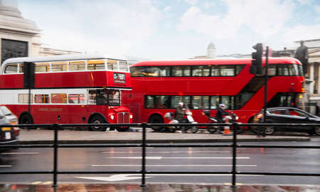Red vintage bus in London. London City tour
