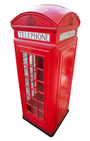 antique booth: Red Phone cabine in London.White isolated. Vintage phone cabine monumental Stock Photo
