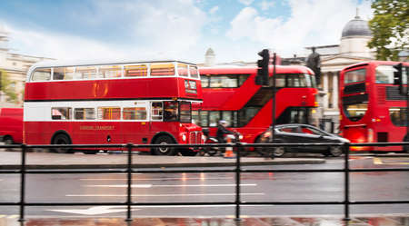 Red vintage bus in London. London City tour Stock Photo - 24186138