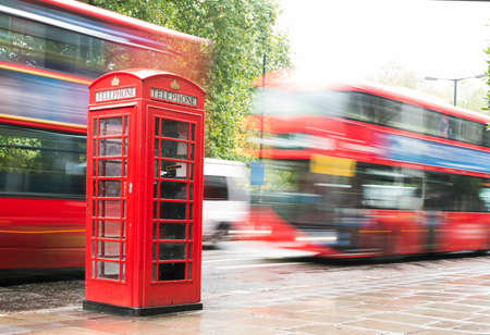 antique booth: Red Phone cabine and bus in London.  Vintage phone cabine monumental