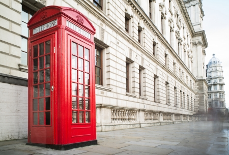 Red Phone cabine in London. Vintage phone cabine monumental