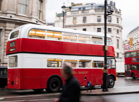 Red vintage bus in London. London City tour Stock Photo - 24290821