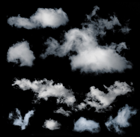 extracted: Black isolated set of clouds Stock Photo