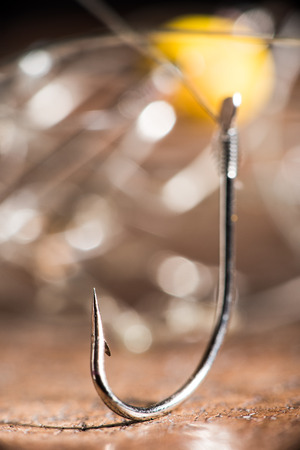 entice: Hooks for fishing. Macro shot. Natural look