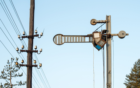 semaphore: Train Semaphore mechanical. Vintage semaphore