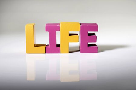 Multicolored text life made of wood. White background photo