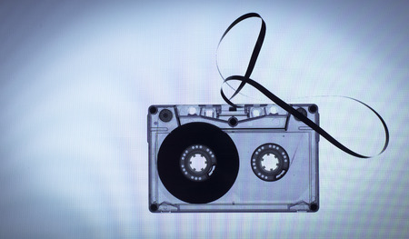 cassette tape: Vintage cassette tape on light blue background Stock Photo