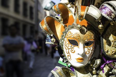 painted face mask: Venetian carnival masks on sale market
