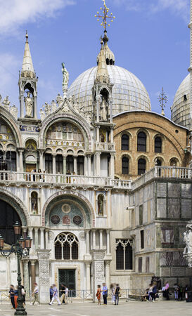 st mark's square: Square San Marco in Venice. Motion blurred people on the square Stock Photo
