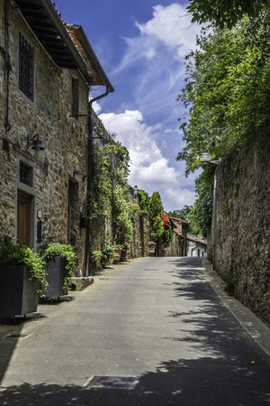 Vintage italian houses with flowers. Sun light photo