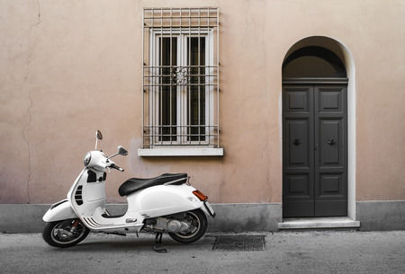 Typical white italian motorcycle