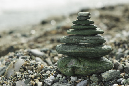 green sea: Stacked green sea stones