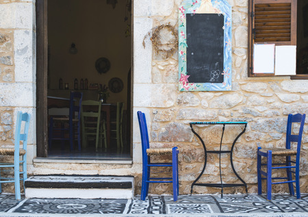 classic interior: Typical greek restaurant. Greece, Mani