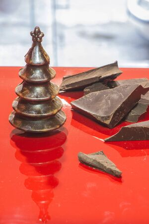 chocolate christmas: Chocolate Christmas Trees. Brown chocolate. Bulgaria