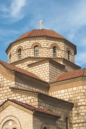 typical: Typical Greek church. Blue sky. Greece