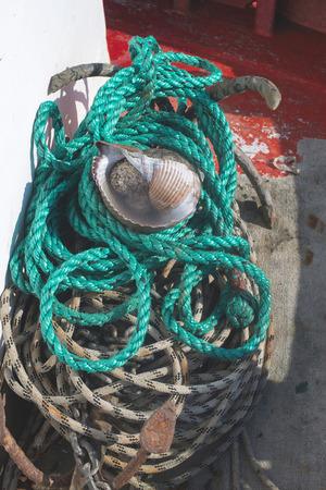 fishnets: Fishnets on fish boat. Greece