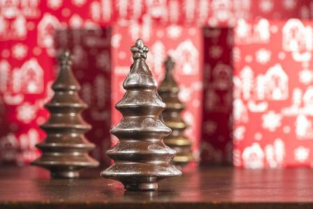 cioccolato natale: Chocolate Christmas Trees. Brown chocolate. Bulgaria