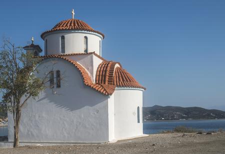 typical: Typical white Greek church. Greece, Gythio