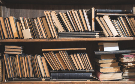 Old books in a vintage library shelfs